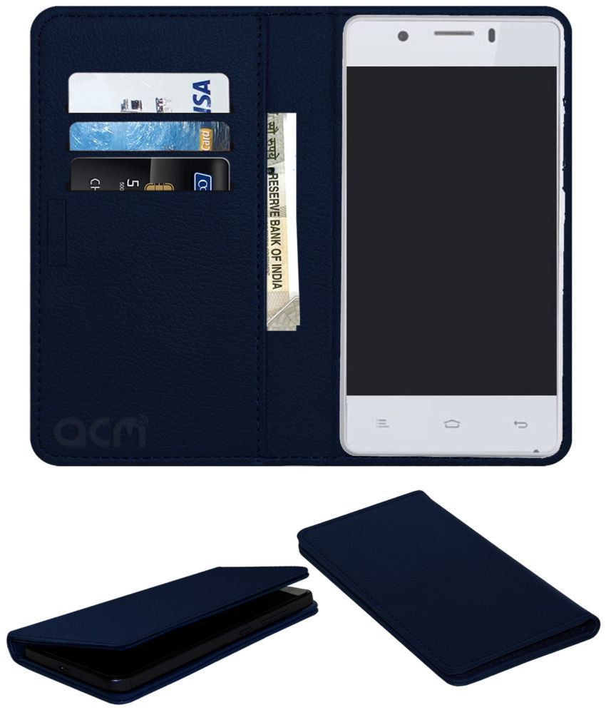 Puncher Uk 5 Smart Flip Cover by ACM - Blue Wallet Case,Can store 3 Card/Cash