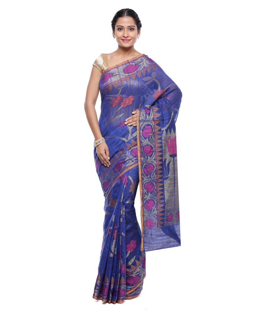 HUMAIRAH Blue and Purple Silk Saree