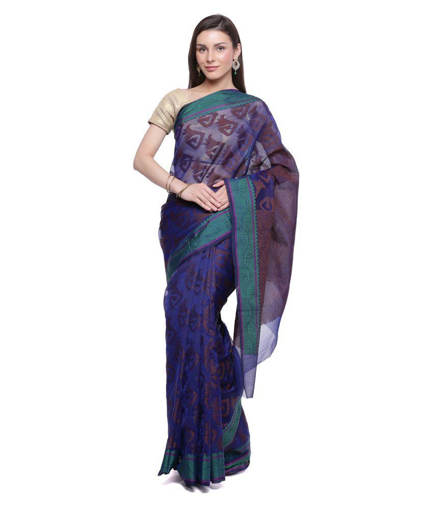 HUMAIRAH Blue Silk Saree