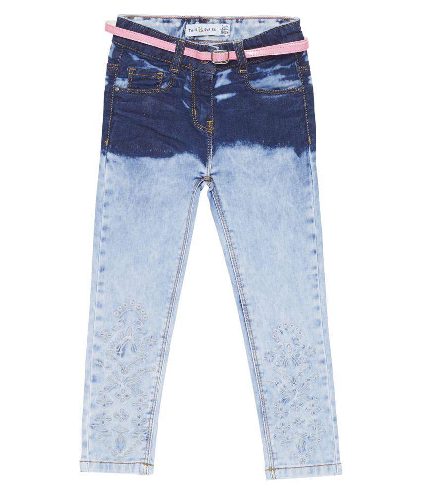 Tales & Stories Girls Light Blue Slim Fit Solid Jeans [T211412-6-7-LB]