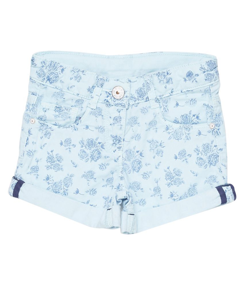 Tales & Stories Girls Sku Blue Slim Fit Floral Print Short [T229441-5-6-SB]