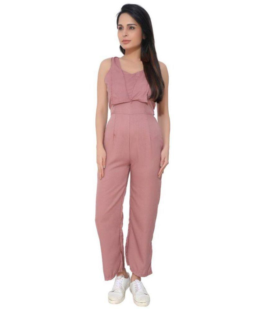10ae46aa891 KLOTHESROOF Pink Polyester Jumpsuit KLOTHESROOF Pink Polyester Jumpsuit ...