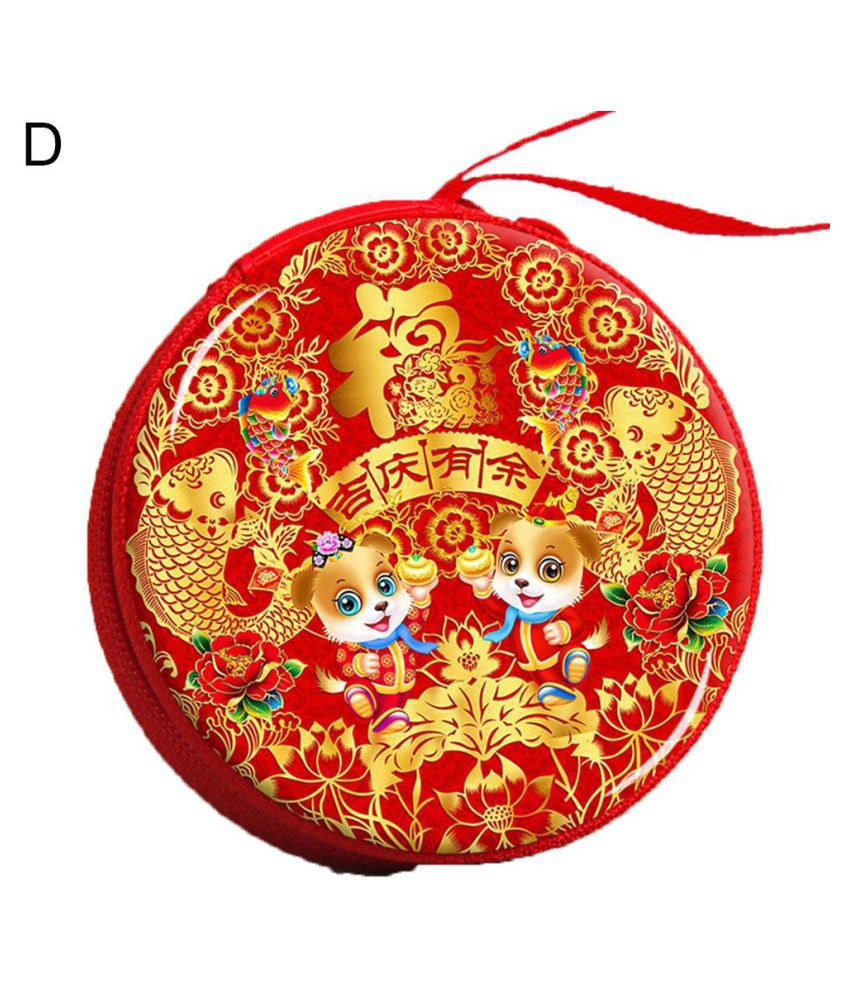 2018 New Year Round Hanging Candy Storage Box Kids Gift Earphone Coin Zipper Bag