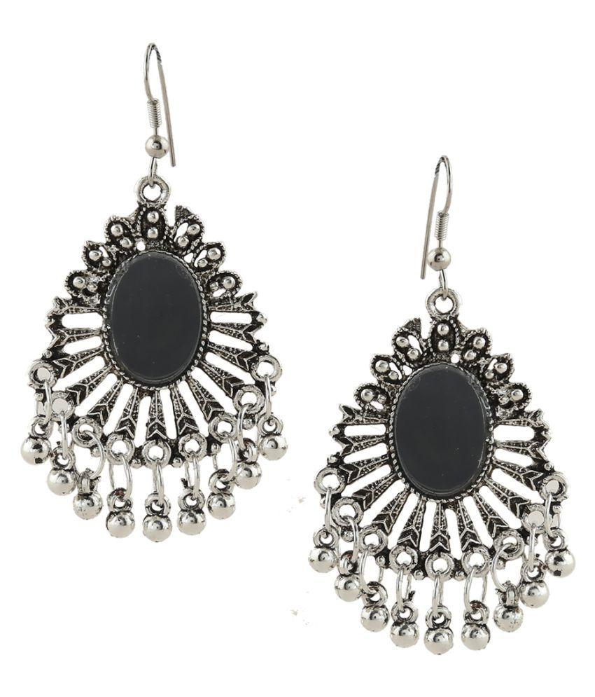 Anuradha Art Silver Colour Designer Trendy Earrings & Nose Pin Combo Set For Women/Girls