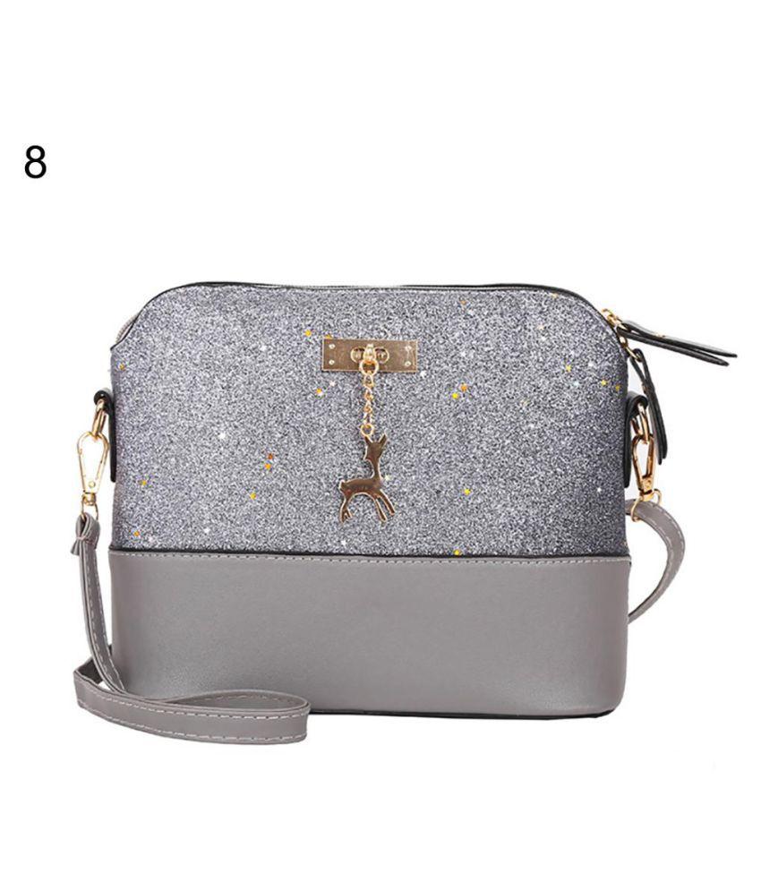 Generic silver Faux Leather Shoulder Bag
