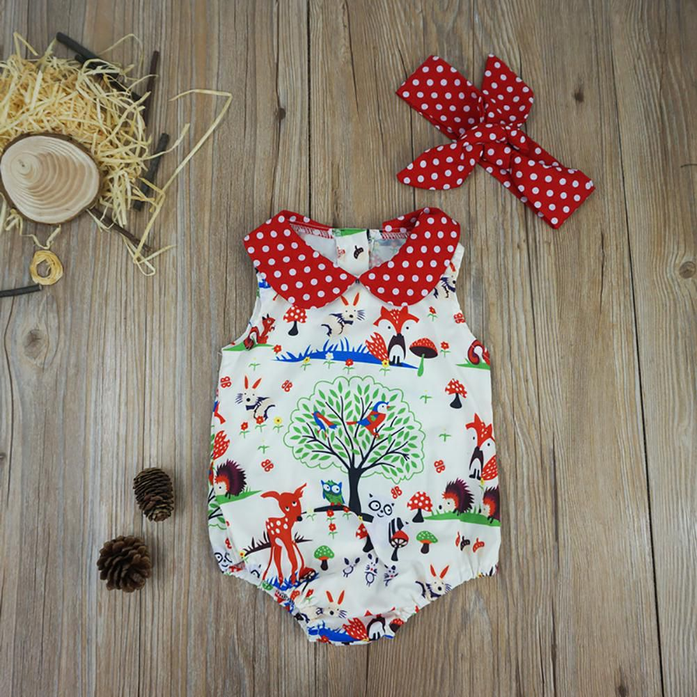 Baby Girls Summer Cartoon Animal Print Headband Romper Jumpsuit Playsuit Clothes