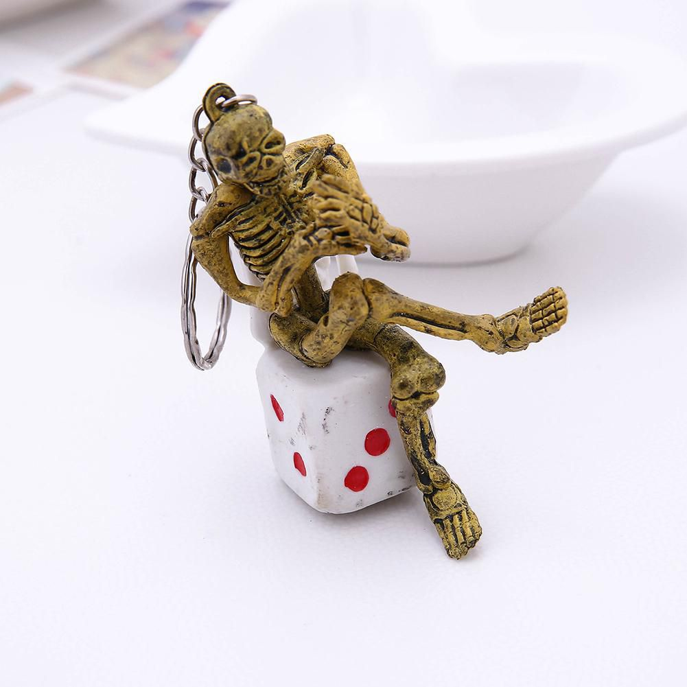Creative Skeleton Dice Pendant Keychain Bag Ornament Key Ring Hanging Decor
