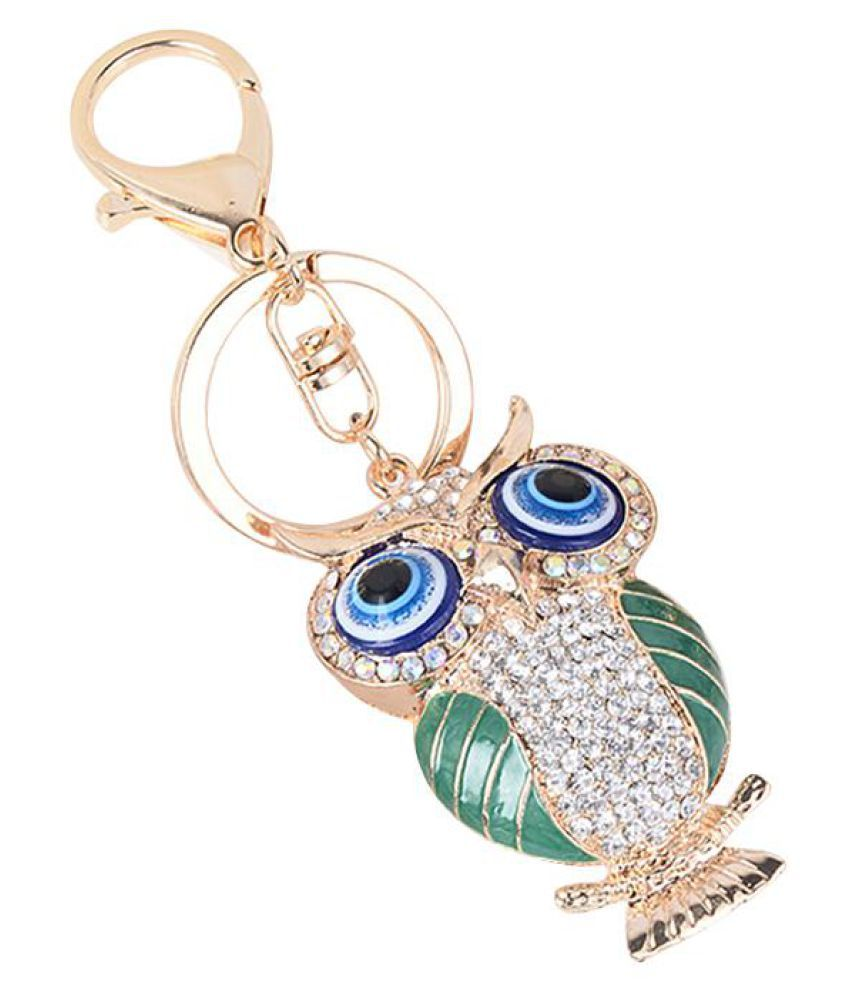 Cute Cartoon Rhinestone Owl Shape Bag Hangings Decor Key Chain Keyring Keychain