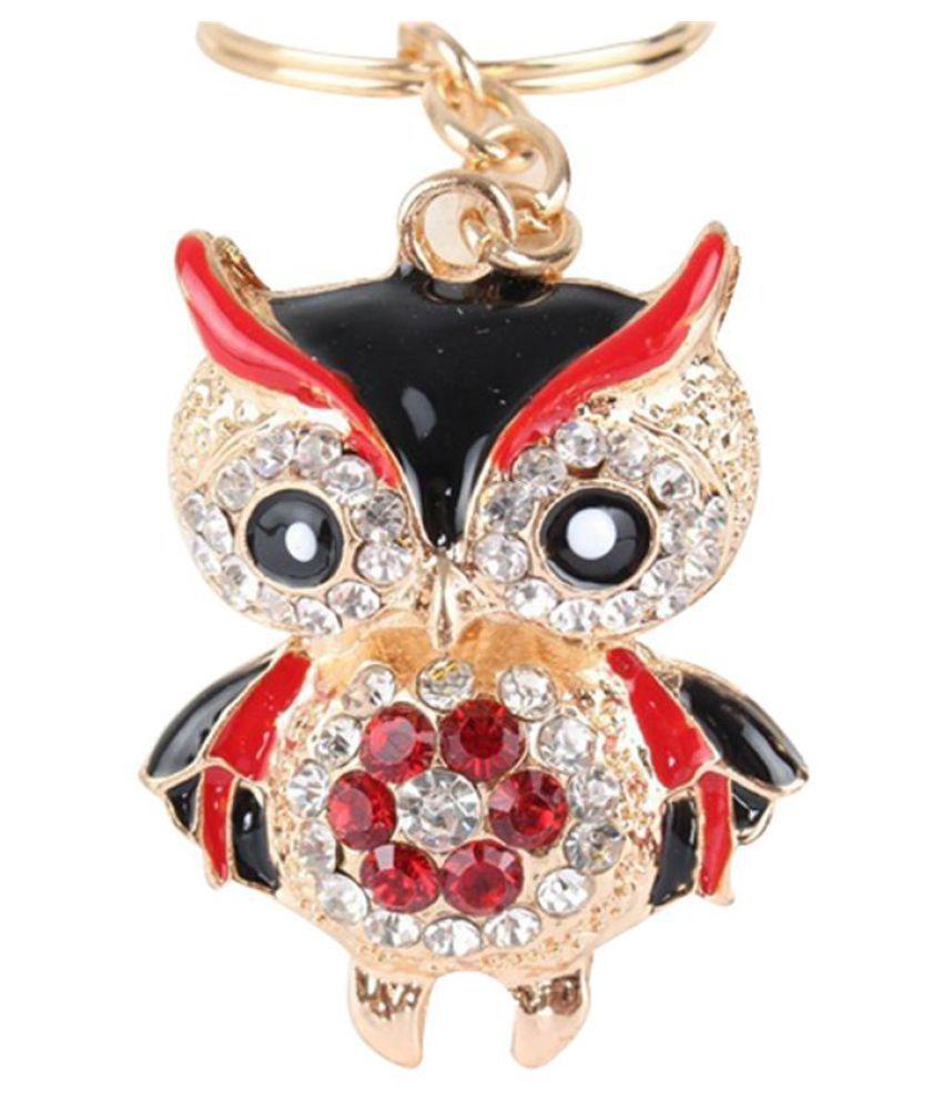 Fashion Cute Owl Rhinestone Keyring Keychain Car Key Holder Bag Pendant Gift