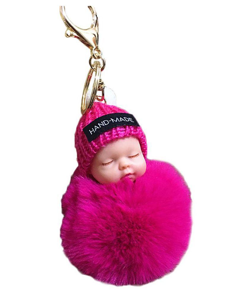Cute Fluffy Sleeping Baby Doll Pompom Car Key Ring Holder Keychain Bag Ornament