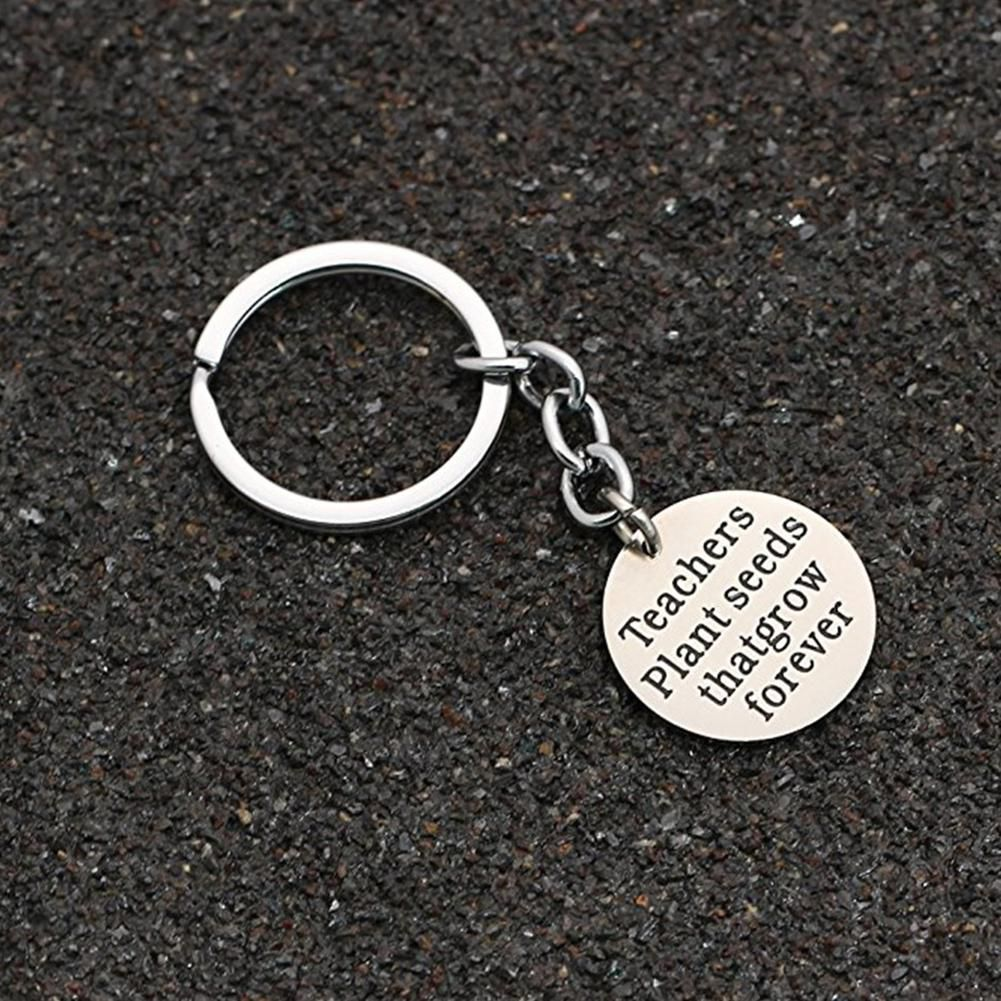 Fashion Round Pendant Letters Keyring Key Chain Thanksgiving Teachers' Day Gift