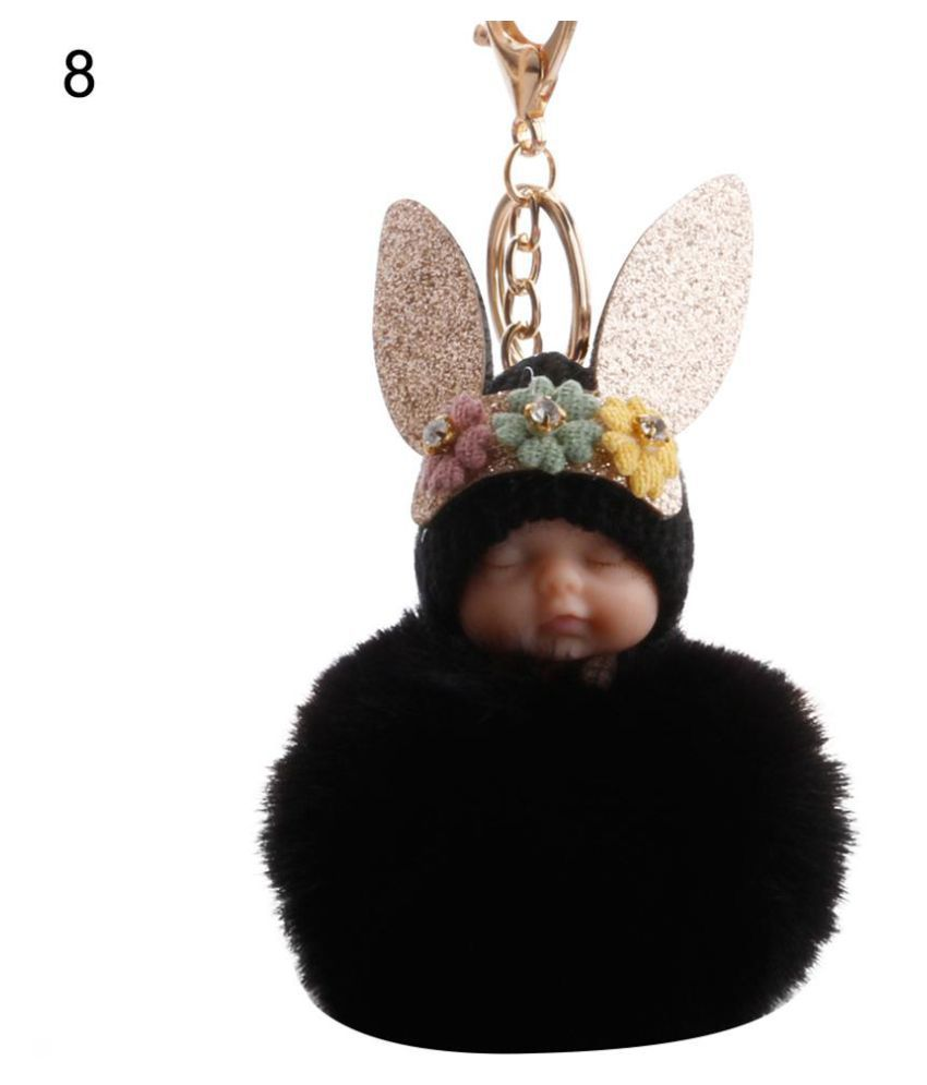 Fluffy Rabbit Ear Sleeping Baby Doll Pompom Charm Key Ring Keychain Bag Ornament
