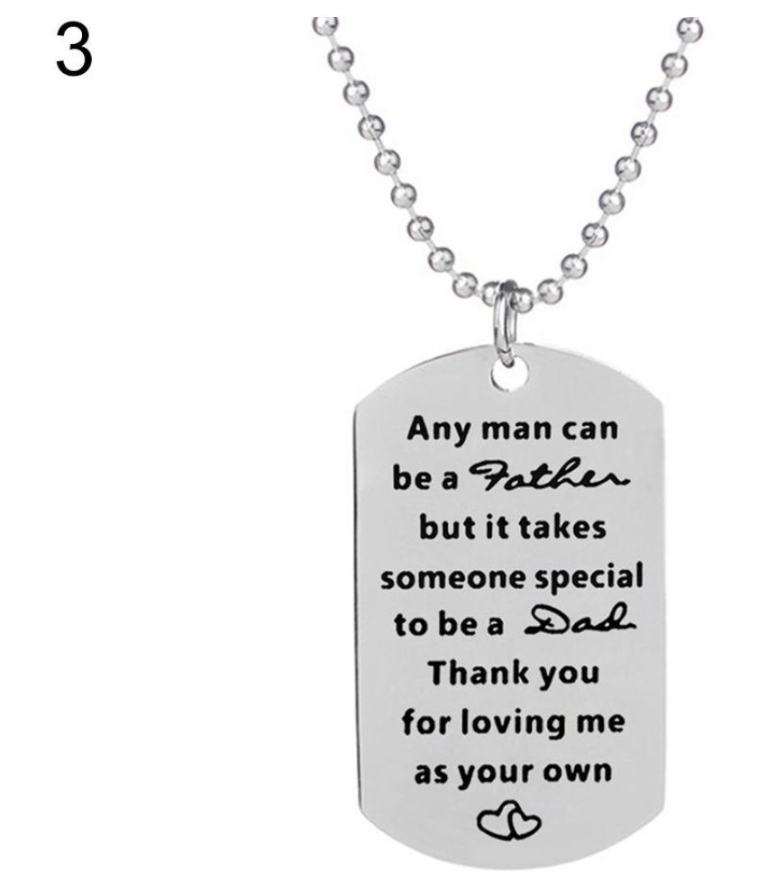 Letters Tag Heart Charm Pendant Necklace Key Ring Holder Keychain Father Gift