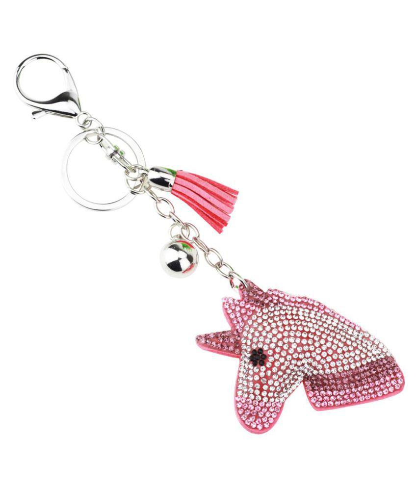 Cute Rhinestone Inlaid Unicorn Tassel Charm Key Chain Handbag Pendant Keyring