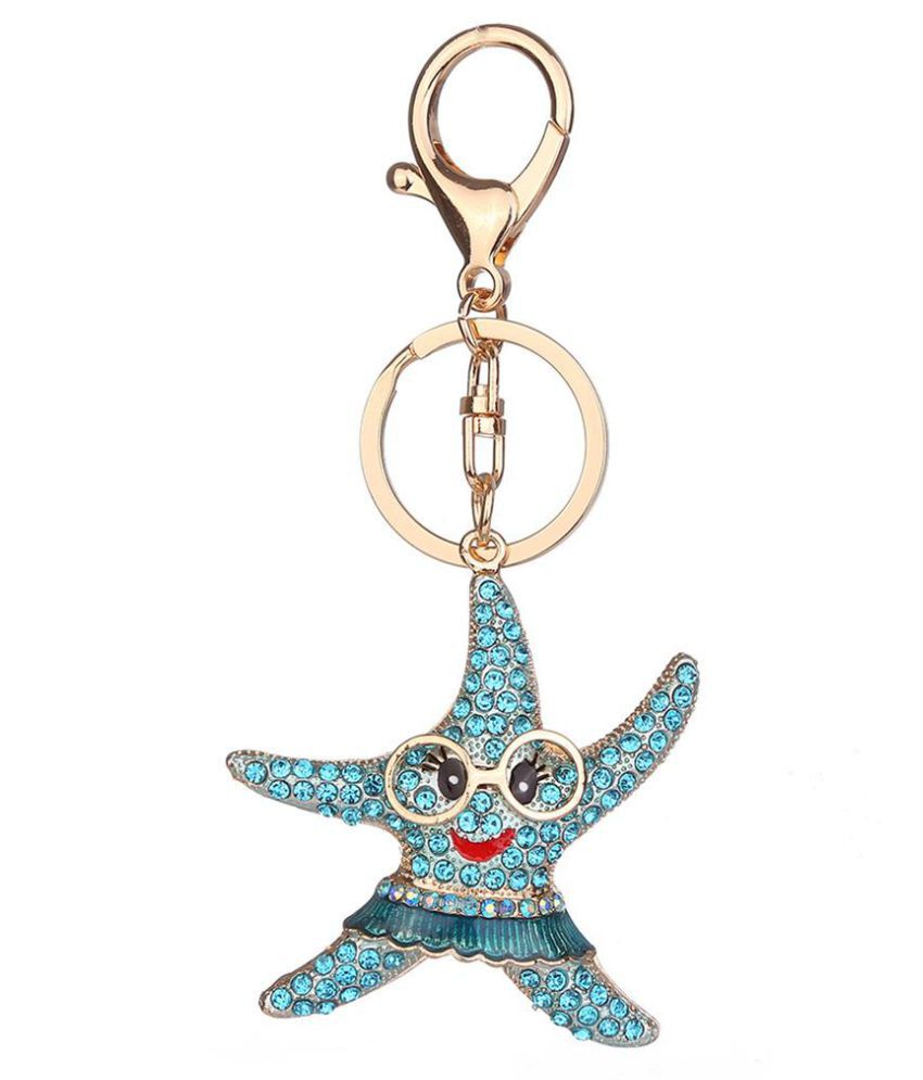 Cute Starfish Alloy Rhinestones Pendant Key Chain Women Bag Decor Keyring Gift