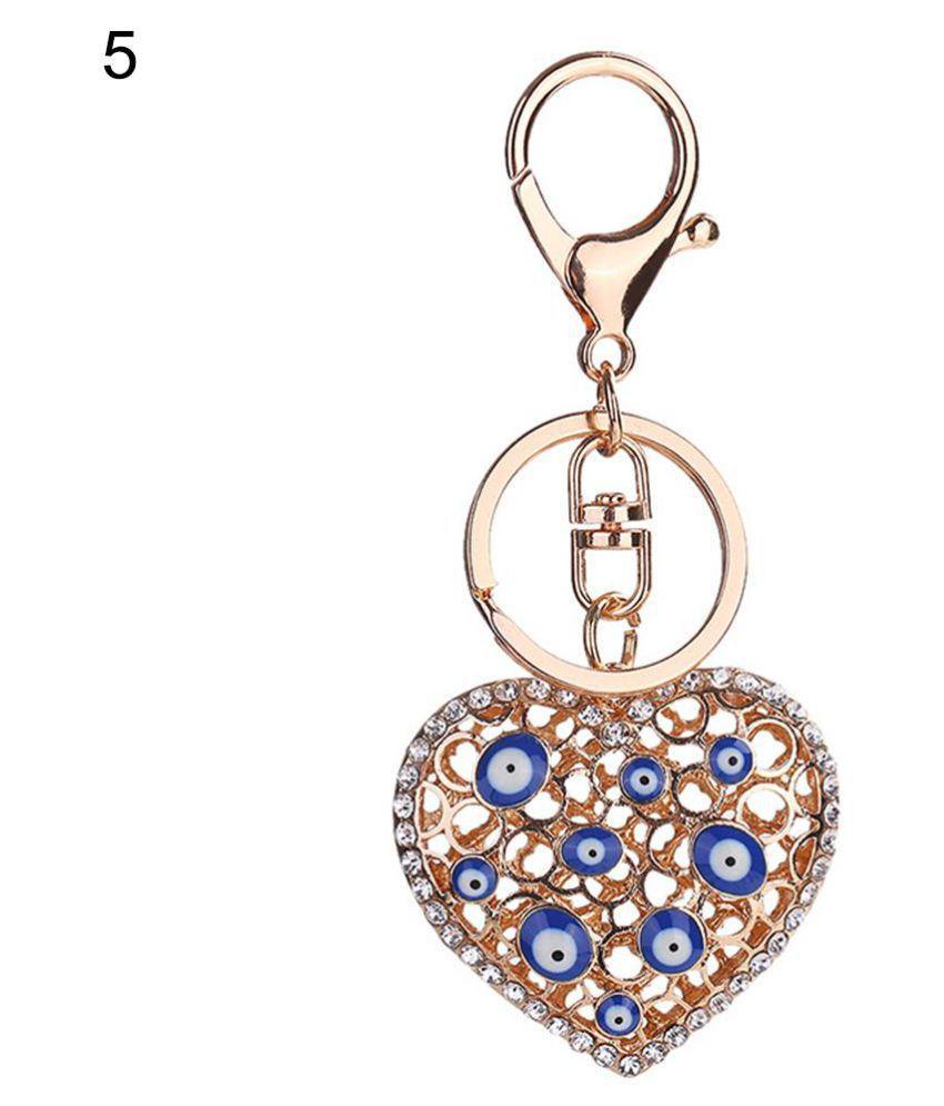 Fashion Blue Eye Alloy Rhinestone Key Chain Women Bag Car Pendant Decor Keyring