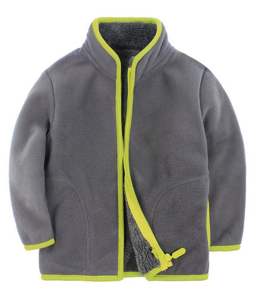 Fashion Children Boy Girl Zippered Stand-up Collar Warm Fleece Coat Jacket Top