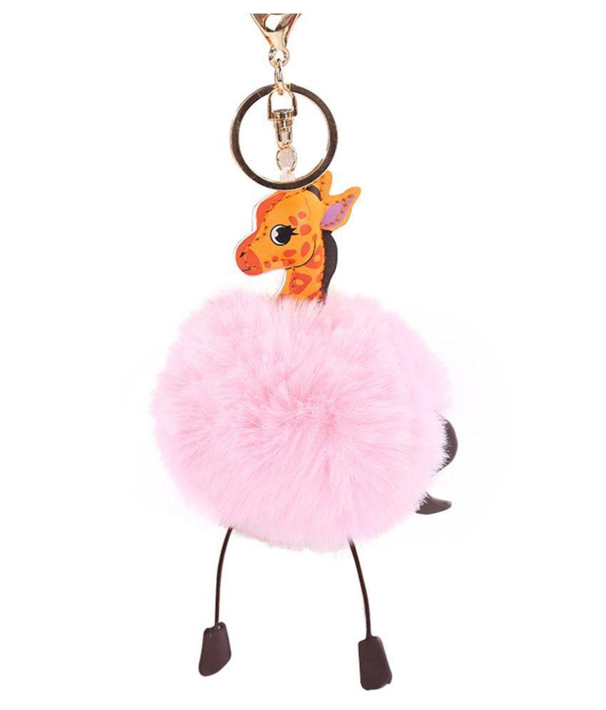 Fluffy Faux Rabbit Fur Round Ball Pom Pom Giraffe Style Lady Bag Charm Key Chain