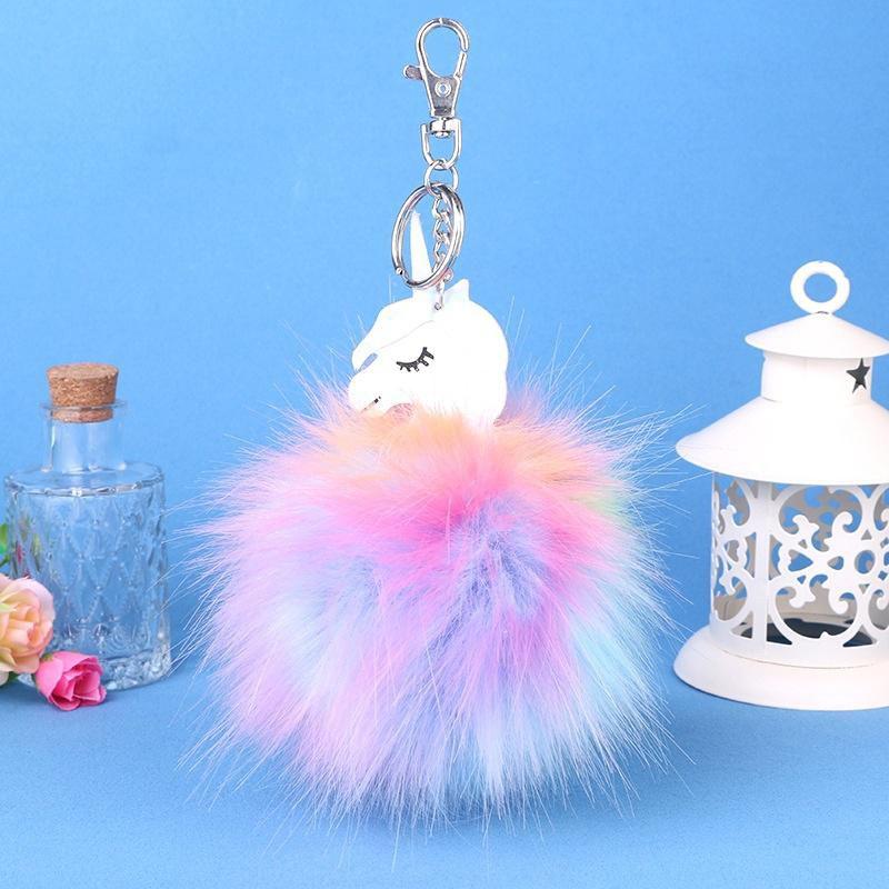 Unicorn Colorful Pompom Fluffy Ball Pendant Handbag Car Charm Keychain Key Ring