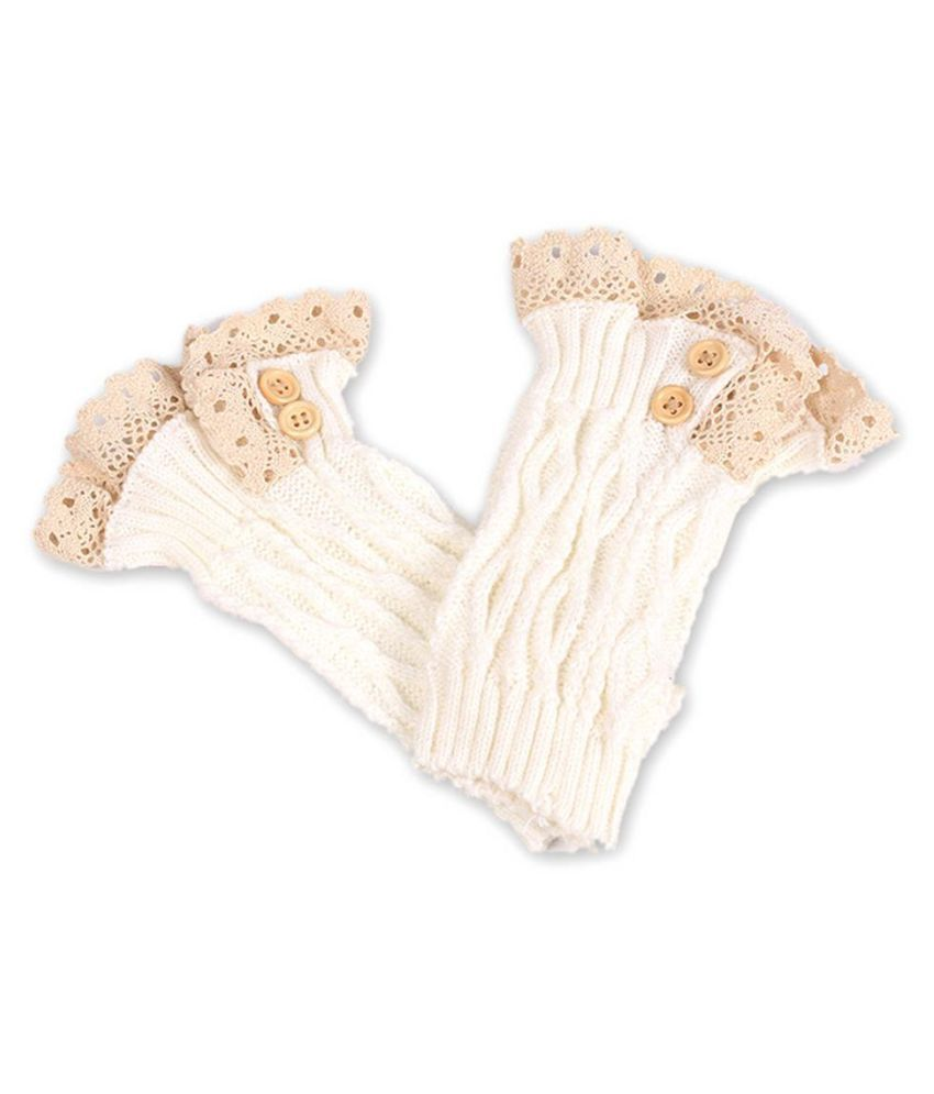 Women's Fashion Soft Short Crochet Knit Leg Warmer Boots Socks with Lace Trim