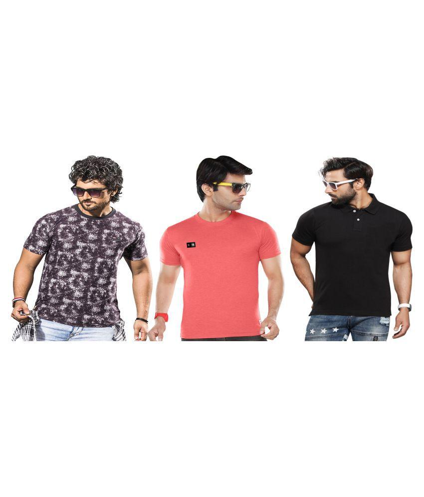 KUNDAN SULZ GWALIOR Maroon Half Sleeve T-Shirt Pack of 3