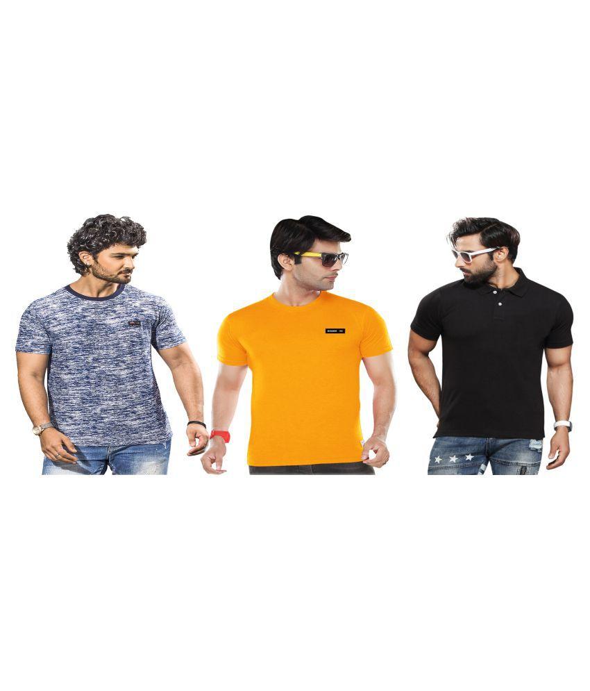 KUNDAN SULZ GWALIOR Black Half Sleeve T-Shirt Pack of 3