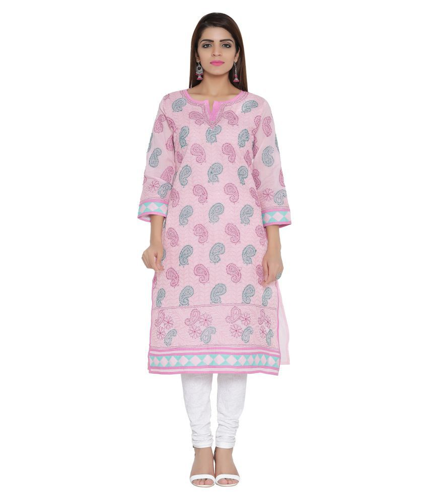 Ada pink cotton Straight Kurti