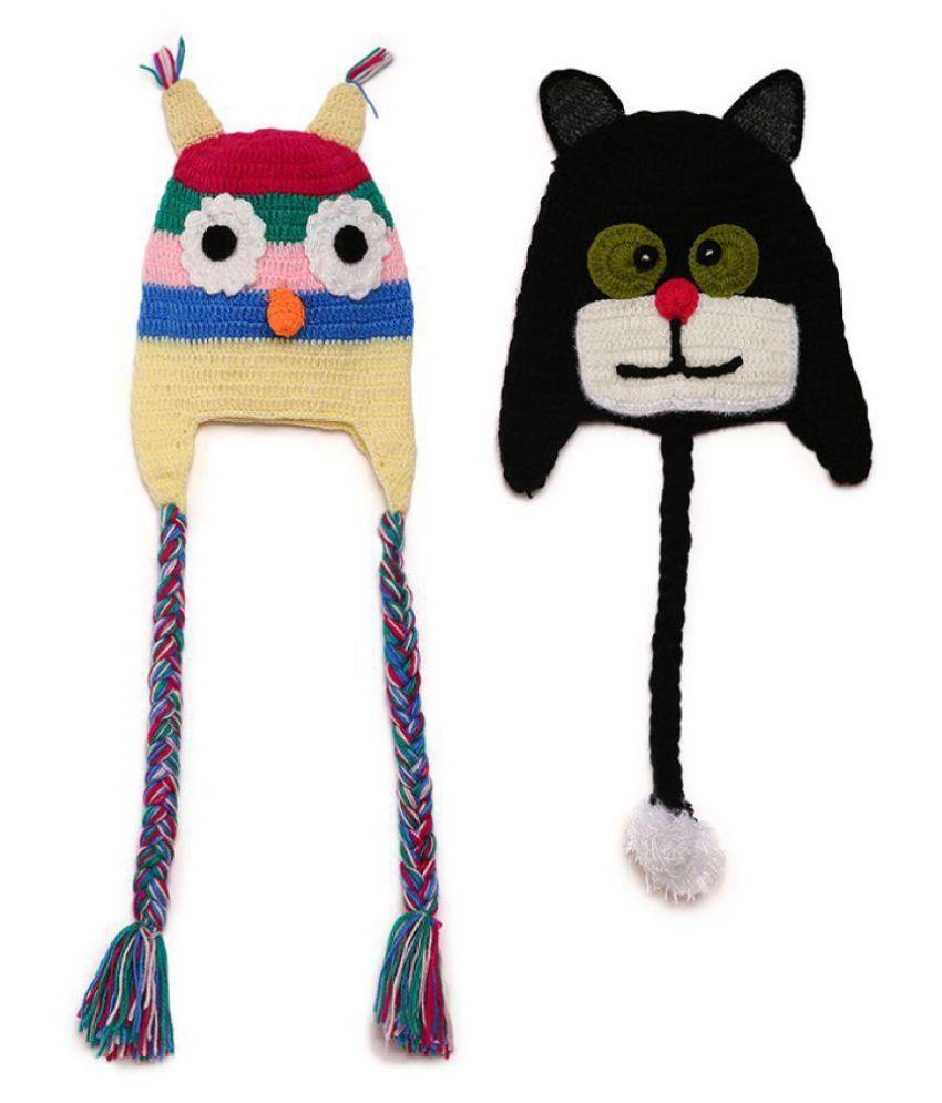 CHUTPUT Hand Made Woolen Cat Face Cap