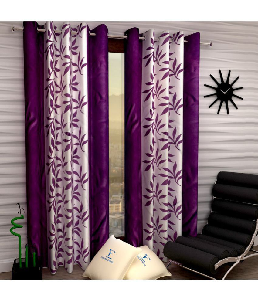 Fashion String Set of 2 Window Semi Transparent Eyelet Polyester Curtains Purple