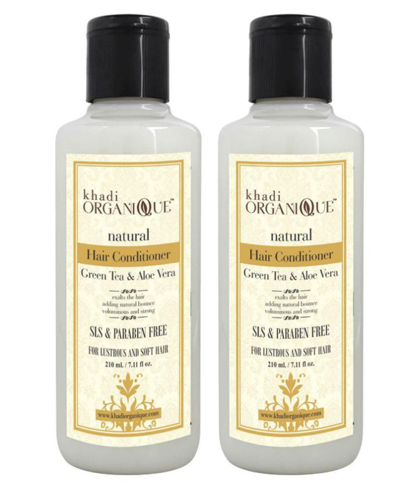 KHADI ORGANIQUE Hair Conditioner Green tea and Aloe vera - SLS & PARABLE FREE Leave In Conditioner 450 gm Pack of 2