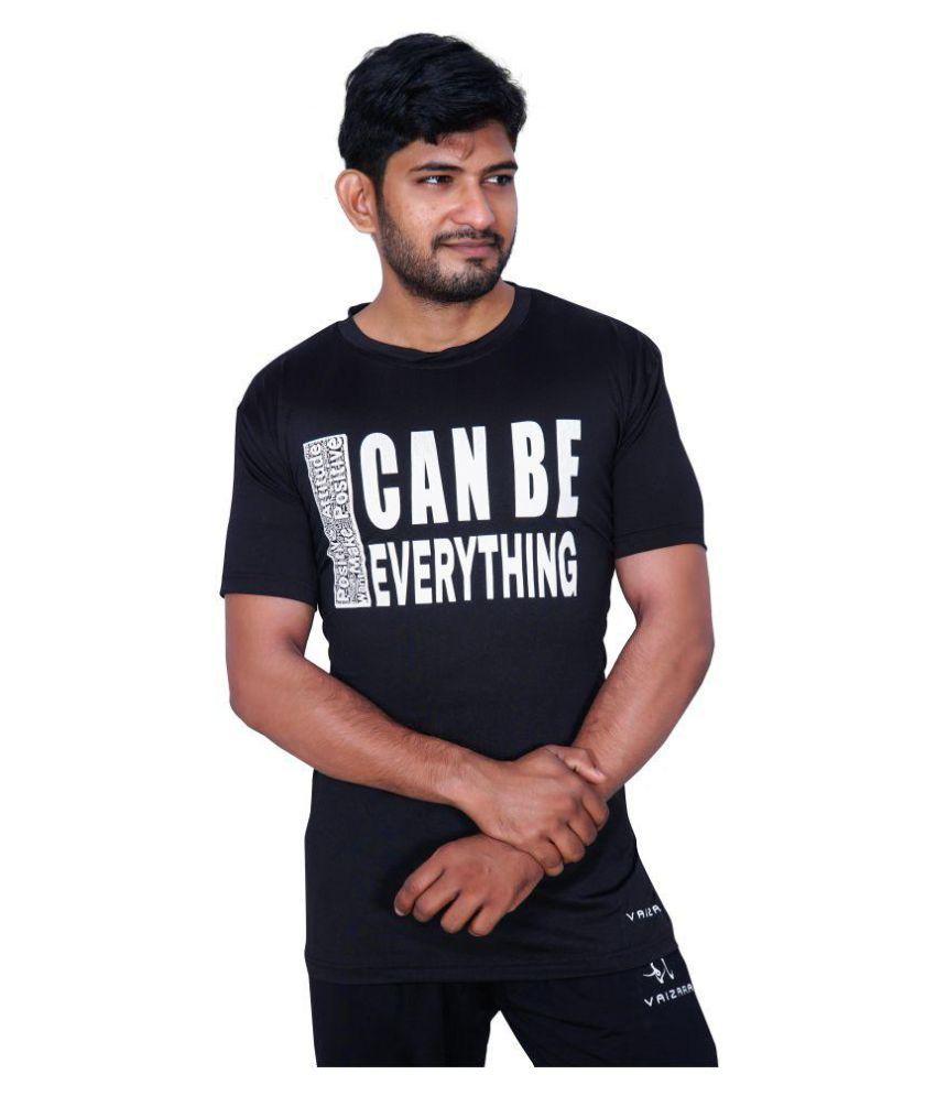 Vaizara Stretchable Printed Sports Tshirt -Black