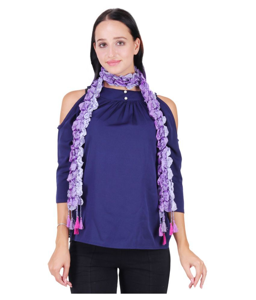 Anekaant Purple Solid Silk Scarves
