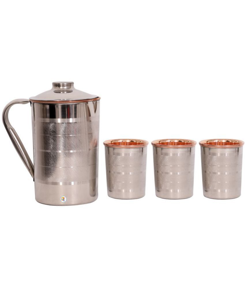 KDT Steel Copper Water Jug With 3 Glass 4 Pcs Jug and Glass Combo