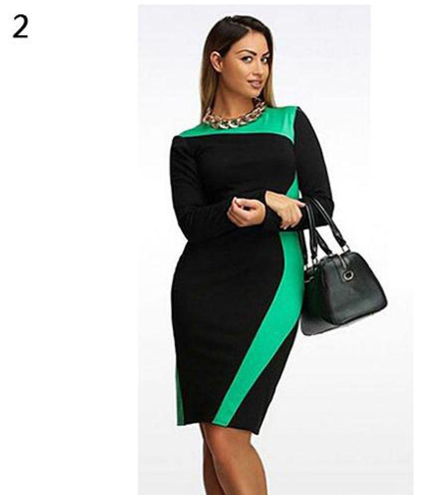 Generic Cotton Green Pencil Dress