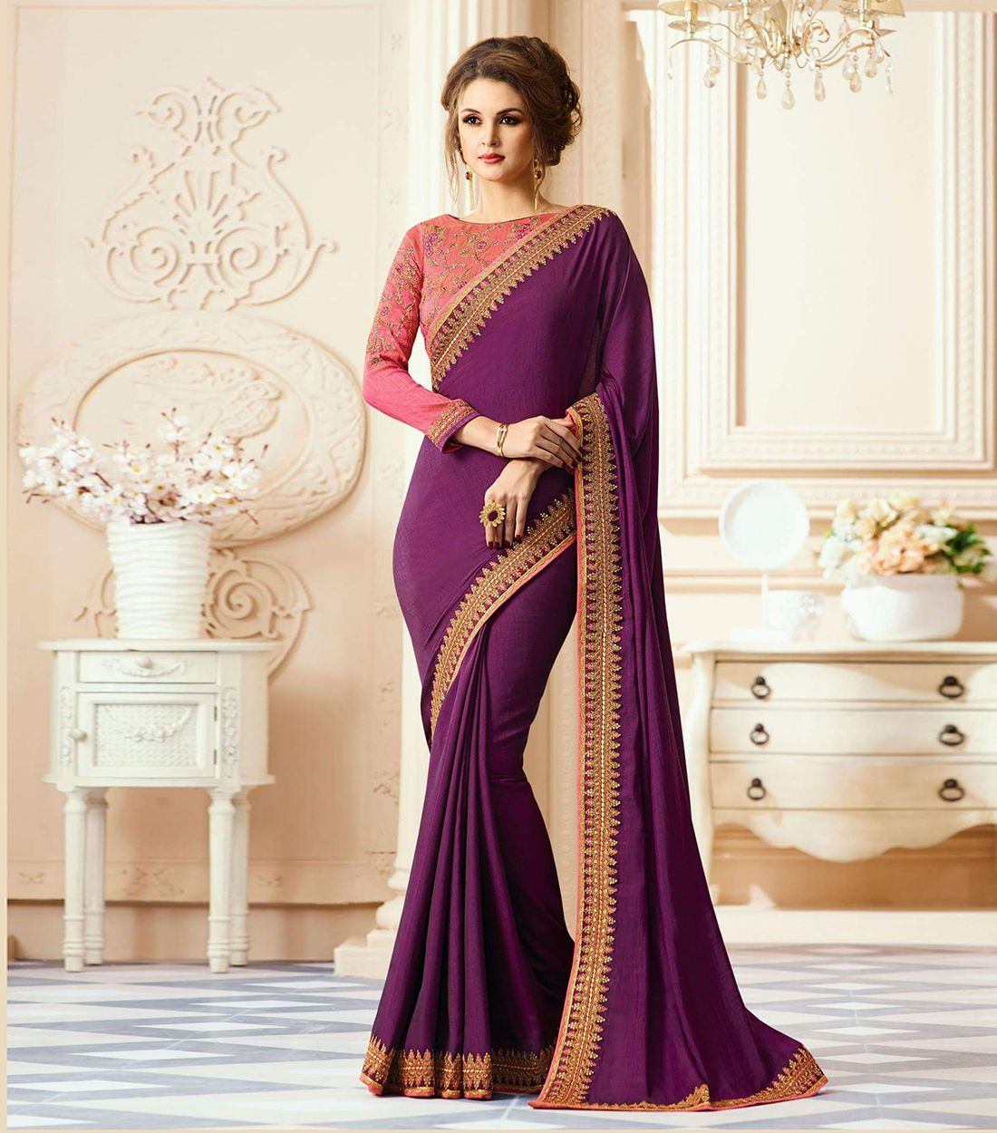 LAXMIPATI STORE PURPLE Georgette Saree