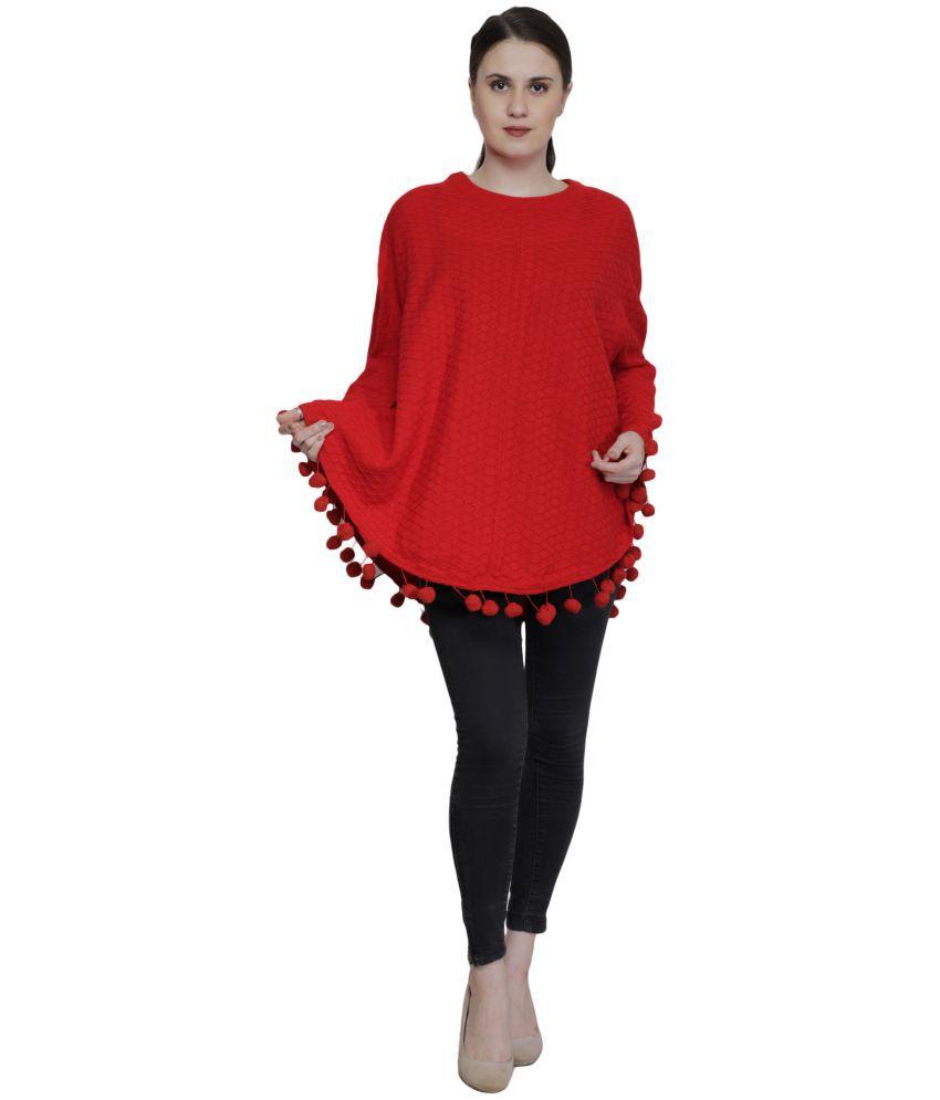Renka Acrylic Red Poncho