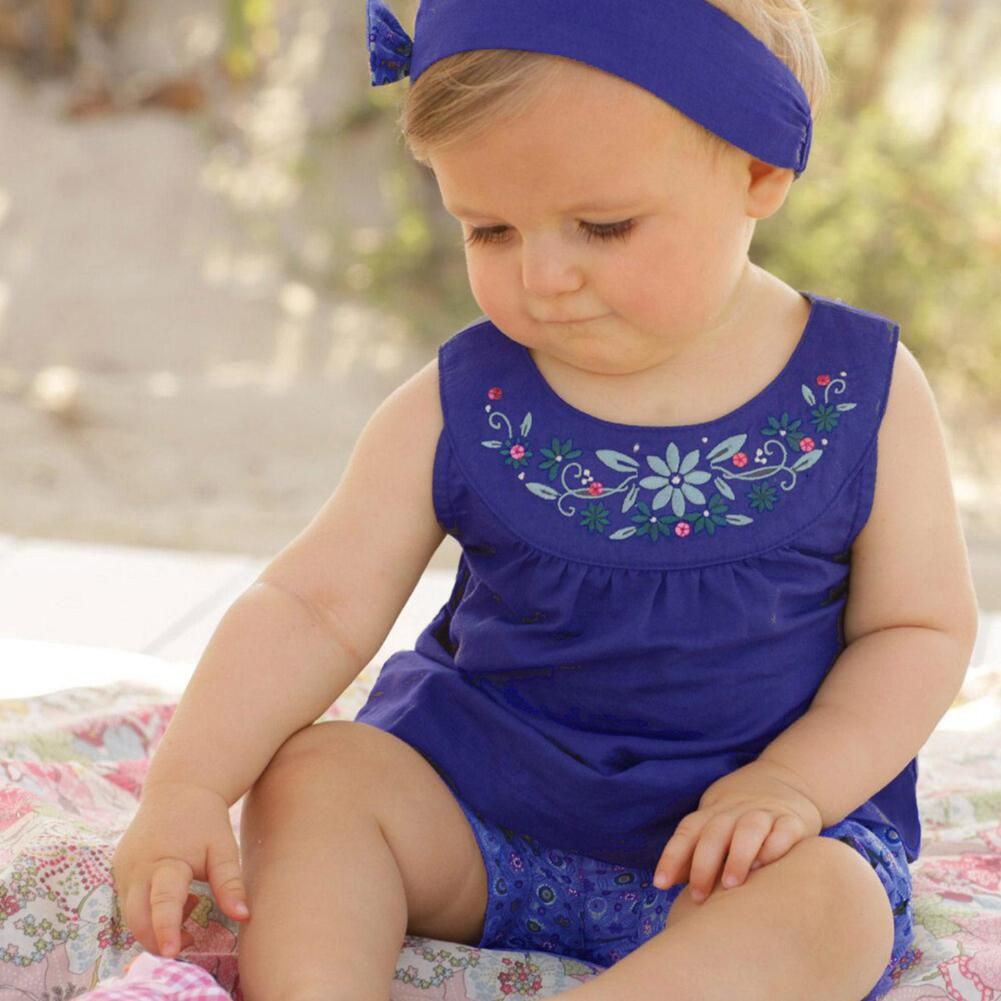 Flower Baby Girls Short Pants Hairband Sleeveless Dress Summer Clothes Set
