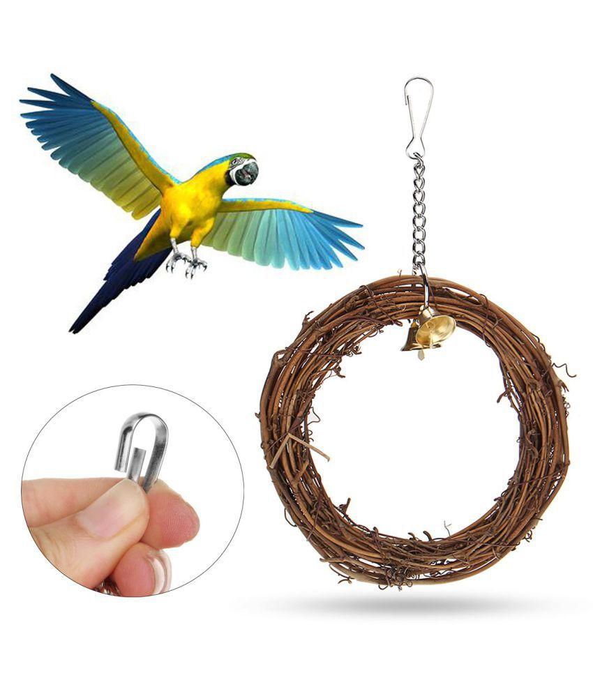 Bird Chew Bites Woven Rattan Hoop Ring Toys Cage Climb Swing Parrot Pet Parakeet