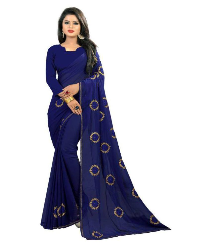 Jinnar Blue Georgette Saree