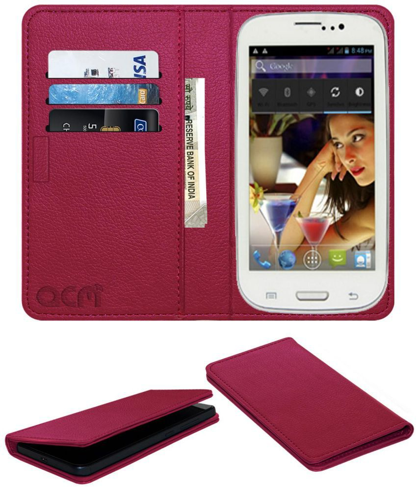 Swipe F3 Phablet Flip Cover by ACM - Pink Wallet Case,Can store 3 Card/Cash
