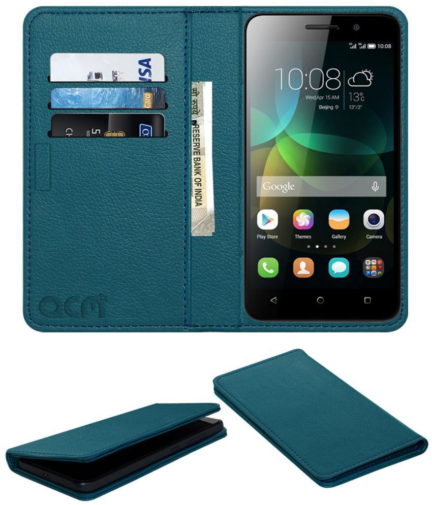Huawei Honor 4C Flip Cover by ACM - Blue Wallet Case,Can store 3 Card/Cash