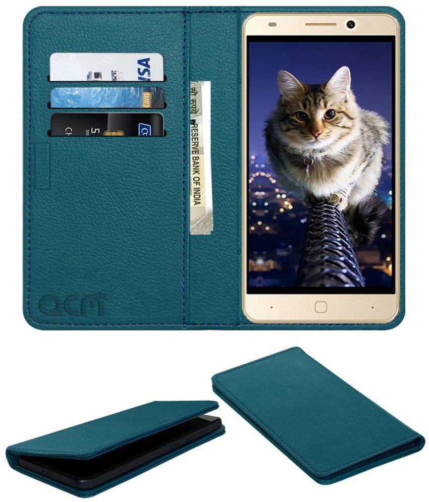 Intex Aqua Super Flip Cover by ACM - Blue Wallet Case,Can store 3 Card/Cash