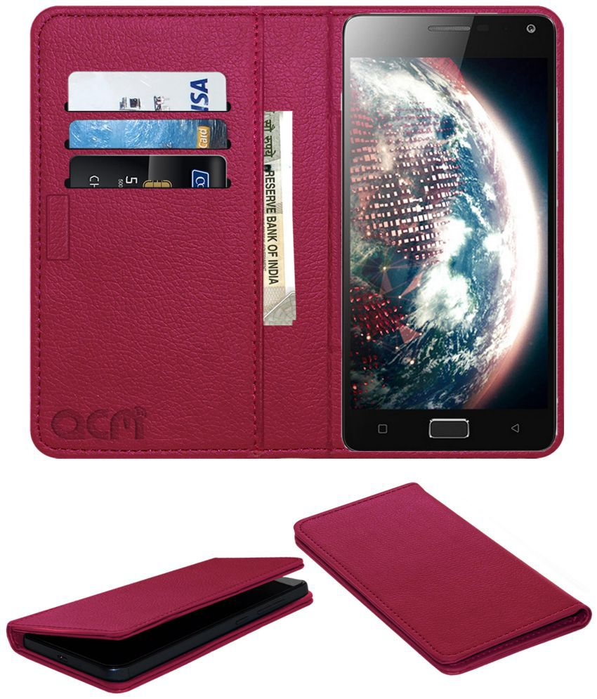 Lenovo Vibe P1 Flip Cover by ACM - Pink Wallet Case,Can store 3 Card/Cash