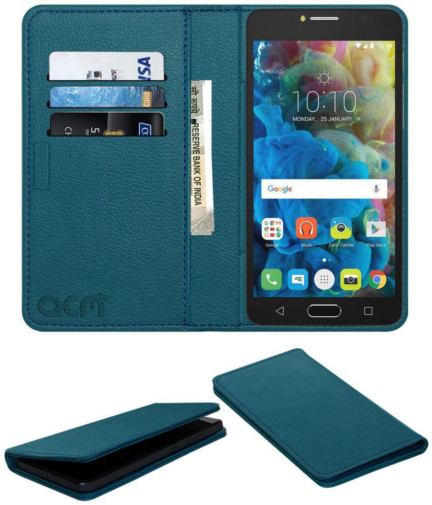 TCL 562 Flip Cover by ACM - Blue Wallet Case,Can store 3 Card/Cash