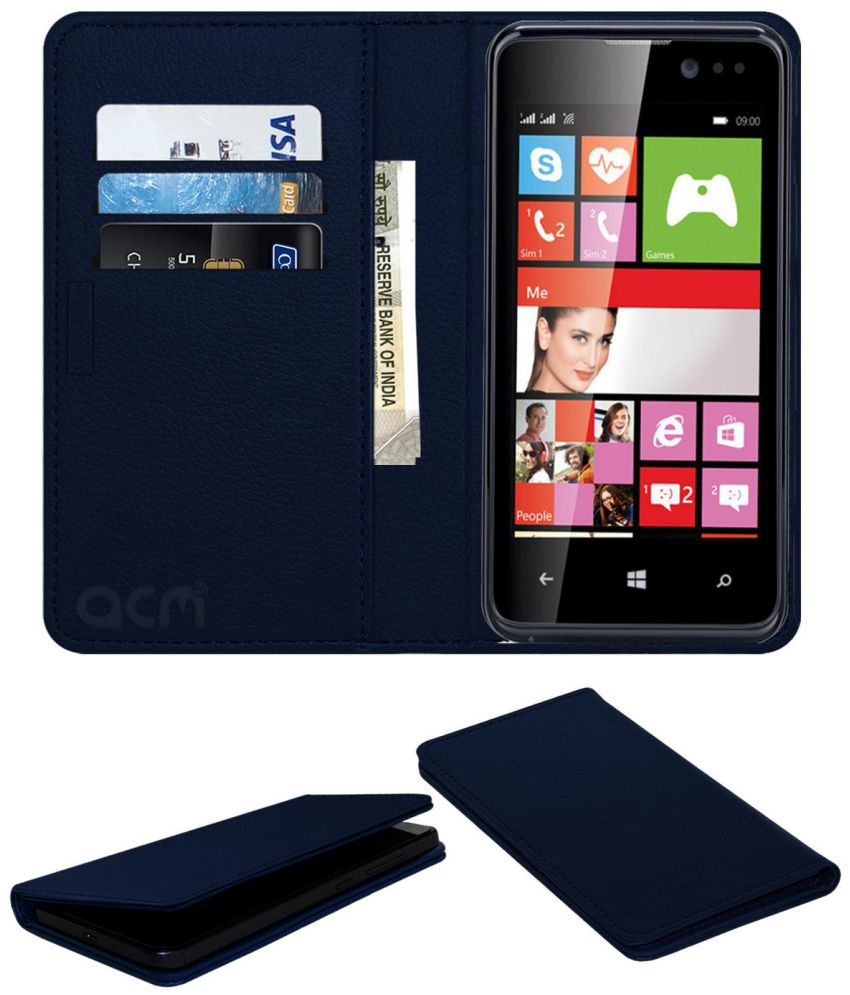 Iball Andi 4l Pulse Flip Cover by ACM - Blue Wallet Case,Can store 3 Card/Cash