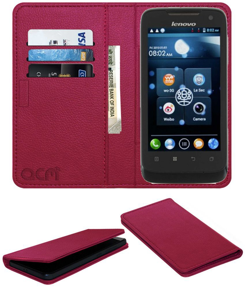 Lenovo A789 Flip Cover by ACM - Pink Wallet Case,Can store 3 Card/Cash