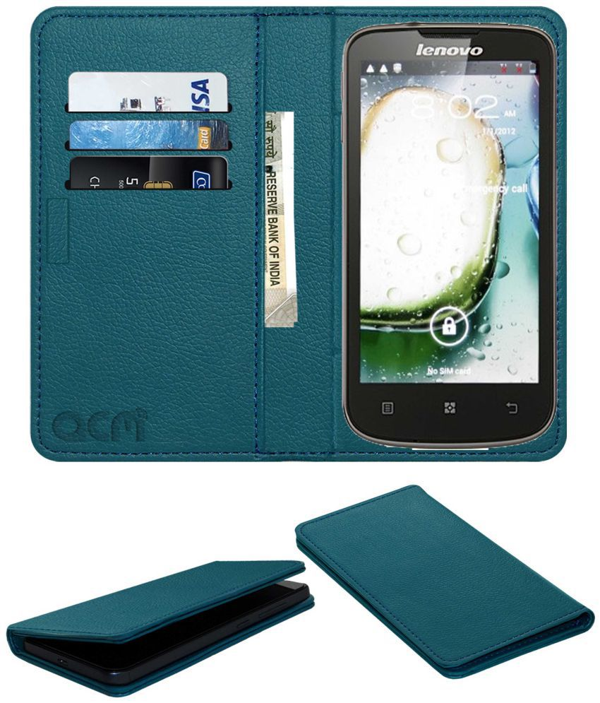 Lenovo A800 Flip Cover by ACM - Blue Wallet Case,Can store 3 Card/Cash