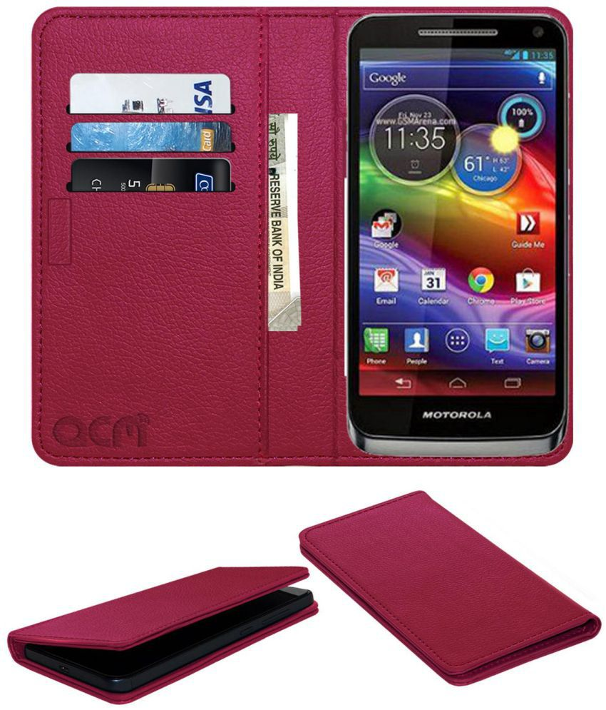 Motorola Electrify M Cdma Flip Cover by ACM - Pink Wallet Case,Can store 3 Card/Cash