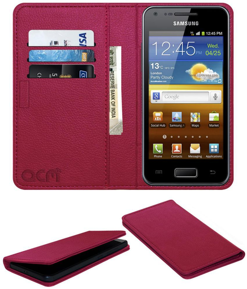 Samsung Galaxy S Advance Flip Cover by ACM - Pink Wallet Case,Can store 3 Card/Cash