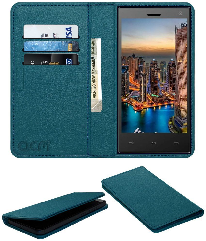 ZIOX ASTRA NXT Flip Cover by ACM - Blue Wallet Case,Can store 3 Card/Cash